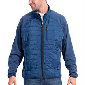 Men's Mixed Media Full Zipper Quilted Jacket